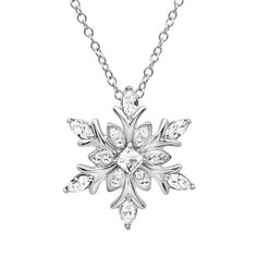 Amazon.com: Sterling Silver Snowflake Pendant-Necklace made with Swarovski Crystals: Jewelry