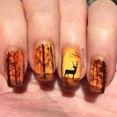 Makeup and Age - Populer Diy - Fall autumn woods deer nails nail art – - Fall Nail Art Designs, Nail Polish Designs, Autumn Nails, Winter Nails, Fall Nail Art Autumn, Autumn Makeup, Hunting Nails, Deer Nails, Cute Nails For Fall