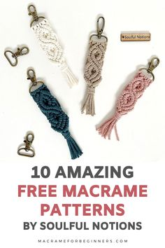 Discover 10 new and exciting DIY Macrame projects by Soulful Notions! From plant hangers to purses and keychains, these free patterns are perfect for beginners and will teach you step-by-step how to get started with Macrame. #macrame #macrameforbeginners Macrame Plant Hanger Patterns, Free Macrame Patterns, Macrame Plant Hangers, Macrame Supplies, Macrame Projects, Sewing Projects, Macrame Cord, Macrame Knots, Diy Keychain
