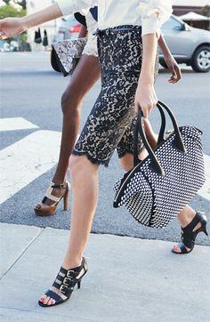Lace skirt & Pour la Victoire handbag-I love this purse!!