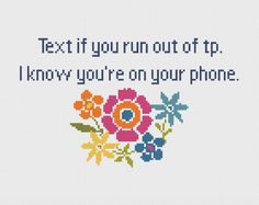 Bathroom - Cross Stitch - Funny - Modern - Sarcastic - Snarky - Cross Stitch Flower - Quick Cross Stitch - Instant Download by ImaginationAdmin on Etsy https://www.etsy.com/listing/286241969/bathroom-cross-stitch-funny-modern: