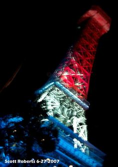 the Eiffel tower on Fourth of July! red white and blue!