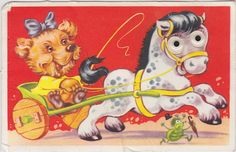 Vintage postcard from my childhood (the horse has moving eyes)