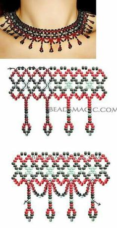 Free pattern for necklace Selma (Beads Magic) Beaded Necklace Patterns, Seed Bead Patterns, Beading Patterns, Beaded Bracelets, Necklaces, Art Patterns, Beaded Ornament Covers, Beaded Ornaments, Seed Bead Jewelry