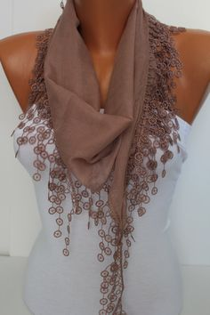 Women  Beige-Nougat Color Cotton Scarf - Headband - Cowl with Lace Edge - Summer Trends- $13.50