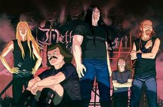 """Dethklok - Fictional death metal band featured in the Adult Swim cartoon, Metalocalypse. Funny thing is, these guys are way more """"metal"""" than a great many of today's big time bands out there! lol With their old-school brutal style and often times humorous lyrics, they became an automatic favorite to me as well as a refreshing change in the death metal genre where too many bands these days are trying way too hard to be dark and demented."""