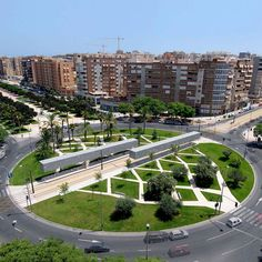 Completed in 2007 in Alicante, Spain. Images by Unknown photographer. Building the Tram stop was an opportunity to give back to the city a space that had been taken from it; transform a roundabout in a public square. Landscape And Urbanism, Landscape Architecture Design, Landscape Model, Architecture Diagrams, Urban Architecture, Architecture Portfolio, Contemporary Landscape, Urban Landscape, Parque Linear