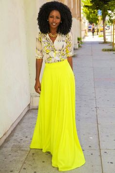 Skirt is BRIGHT..But love the look.