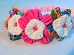 New Born  Pink Floral  Headband | Wyverndesigns - Children's on ArtFire