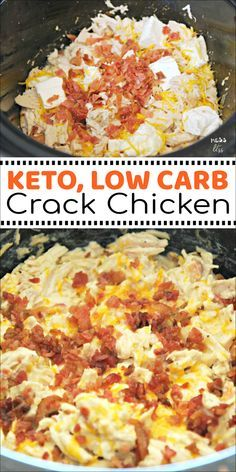 This Crack Chicken in the Crock Pot is keto friendly and low carb. But you don't have to follow a low carb lifestyle to enjoy it. The whole family will love this creamy, cheesy chicken dish. #keto #lowcarb #crockpot #slowcooker #crackchicken