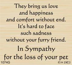 Furry Friend Sympathy Greeting - 1074G - DRS Designs