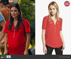 Zoe's red zip front top with embroidery on Hart of Dixie.  Outfit Details: http://wornontv.net/45313/ #HartofDixie