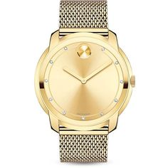 Movado Bold Bold Diamond & Goldtone Stainless Steel Mesh Bracelet... ($795) ❤ liked on Polyvore featuring jewelry, watches, gold, diamond jewelry, stainless steel bracelet watch, stainless steel jewelry, diamond dial watches and diamond watches