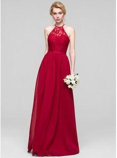 A-Line/Princess Scoop Neck Floor-Length Chiffon Bridesmaid Dress (007090156)