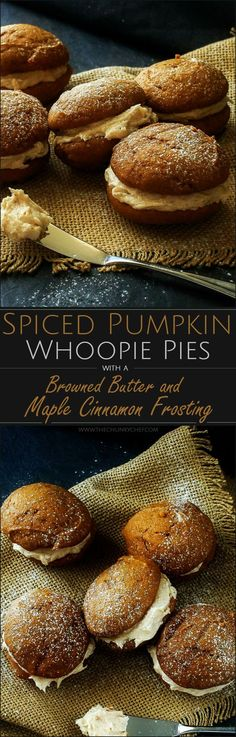 Spiced Pumpkin Whoopie Pies The Chunky Chef Soft and light spiced pumpkin cookies sandwiched together with a decadent yet easy to make browned butter maple cinnamon frosting! Spiced Pumpkin, Pumpkin Recipes, Fall Recipes, Pumpkin Spice, Holiday Recipes, Pumpkin Butter, Pumpkin Pumpkin, Vegan Pumpkin, Cinnamon Butter