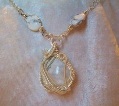 $25.00 Moonstone Blue Flash Silver Wire Wrapped Pendant Necklace Handmade #Handmade #Pendant casual wear, gemstone handcrafted jewelry, boho, bohemian style