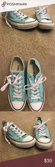 Teal Blue Converse Only worn a few times, they just didn't match with a lot of my clothes.                                                                               Teal baby blue color• Size 6.5• Cute• Casual• Converse Shoes Sneakers