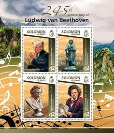 Post stamp Solomon Islands SLM 15118 a245th anniversary of Ludwig van Beethoven (1770–1827. Herbert von Karajan (1908–1989) playing Beethoven)