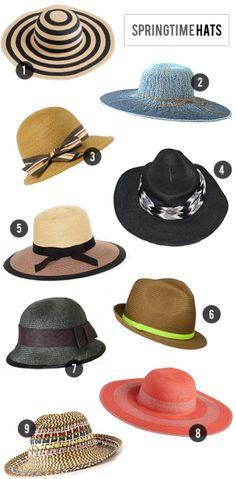 1. Summer Straw Hat in Stripe, J.Crew // 2. Tikehua Sun Hat, Anthropologie 3. Moira Hat, The Hat Shop NYC // 4. Zig Zag Banded Panama Hat, Free People 5....