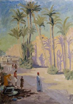 winston spencer churchill(1874–1965), palm trees and people at marrakech, c.1935. oil on board, 50 x 35.5 cm. national trust, uk http://www.bbc.co.uk/arts/yourpaintings/paintings/palm-trees-and-people-at-marrakech-218736