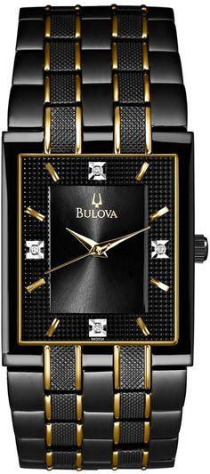 Bulova Men's Diamond Accent Black and Gold-Tone Stainless Steel Bracelet Watch 30mm 98D004