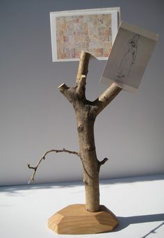 Tree branch fastened to a wooden base.  Cut slits at the ends of thicker limbs & use as a natural photo holder