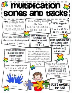 "Multiplication songs teaching-classroom-ideas If a student struggles this is a good trick. Wouldn't use this at first though, I want them to understand multiplication not the ""cheat"" Teaching Tips, Teaching Math, Math Resources, Math Activities, Math Strategies, Math Tips, Multiplication Songs, Math Songs, Math Fractions"