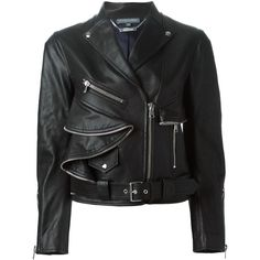 Alexander McQueen biker jacket ($5,350) ❤ liked on Polyvore featuring outerwear, jackets, leather, black, leather moto jacket, black biker jacket, motorcycle jacket, ruffled leather jacket and leather motorcycle jacket