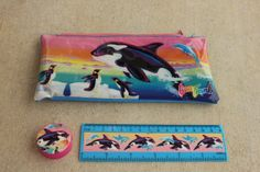 lisa frank orca whale school set by sadgurlclothes on Etsy, $25.00  I would pass out if I got this