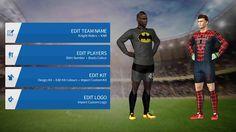 Dream League Soccer Superhero Kits and Logos URL Soccer Kits, Soccer Games, Real Madrid Kit, Dc Comics Characters, Pumas, Comic Character, League Gaming, Superman, Superhero