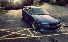 BMW M3, E36, tuning, coupe, Broder, blue bmw
