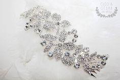 Wedding Crystal Hair Comb Handmade Floral par CleoandCesar sur Etsy