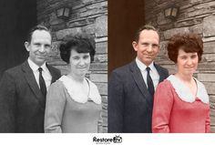 Before and after photo restoration at Restore.tv #photo #colorization #couple #photorestoration #photos #photograph #photoshop #vintage #memories #backtolife #photos #oldprotographs #giftideas #photorepair #beforeandafter #digitalrestore #retouching #PhotoRepair #ColourCorrection #PhotoEditing #PhotoRetouching #vintage