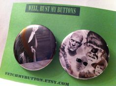 Dracula - The Mummy - Frankenstein - The Creatures BL   - Pin Back Buttons - vintage guitar book  -  found object art - 2.25 inches on Etsy, $5.00