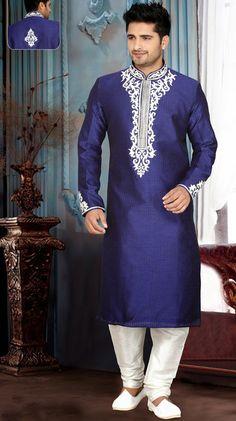 Royal Blue Art Silk Readymade Kurta with Churidar Hippy Fashion, Asian Men Fashion, Men's Fashion, Wedding Dresses Men Indian, Wedding Dress Men, Wedding Wear, Gents Kurta Design, Mens Ethnic Wear, Kurta Men