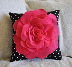 Hot Pink Rose on Black with White Polka Dot Pillow size 14x14 #Bedroom #black_and_white #cotton