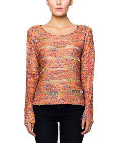 Look at this #zulilyfind! Pink Confetti Shirred Scoop Neck Sweater - Women by V.O. Jeans #zulilyfinds