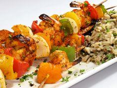 """Shrimp Teriyaki Kebabs"". These tasty things work for the Dr. Phil diet plan..."