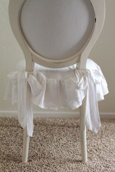 soft ruffle chair seat slipcover with bows