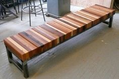 Bedroom Benches: Sit & Store DIY bench~just find an old bench with good bones, replace top w/recycled wood, put a dowel /rod through keep . Reclaimed Wood Benches, Old Benches, Woodworking Bench, Woodworking Projects, Woodworking Techniques, Woodworking Joints, Popular Woodworking, Woodworking Classes, Sketchup Woodworking