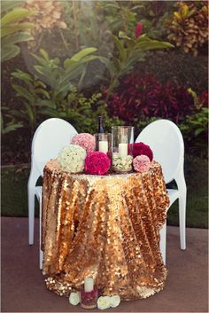 Bling out sweetheart table. Love the copper linen:)!
