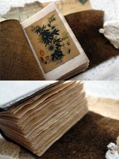 DIY pressed flowers in a vintage, leather bound book