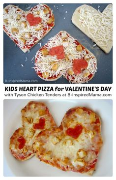 Simple Heart Shaped Kids Pizza for Valentine's Day! Love the idea minus the processed chicken suggestion....