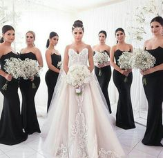 Black bridesmaid dresses, Unique strapless mermaid bridesmaid dresses, Simple cheap bridesmaid dresses, · BellaBridal · Online Store Powered by Storenvy Black Bridesmaids, Wedding Bridesmaids, Bridesmaid Bouquet, Bridal Gowns, Wedding Gowns, Wedding Bells, Wedding Cake, Wedding Ceremony, Wedding Rings