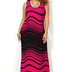 Wave Stripe Maxi Dress-Plus Size Dress-Avenue