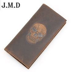 Personality Wallets Men Genuine Leather Long Design Men's Wallet Skull Printed Vintage Crazy Horse Cowhide Man Clutches #jewelry, #women, #men, #hats, #watches