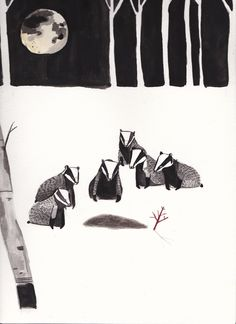 Badger Funeral for 'Hinterland' exhibition by Dick Vincent Illustrations