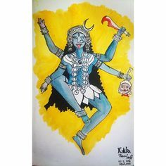 Day 02 | Inktober 2016 | Kalika  Next in the Devi series is Kali ma, one of my favourite angry Indian goddesses. Kali principally destroys evil forces. As the divine mother, she is the feminine form of Kala (black, dark coloured), an epithet of her consort, Shiva. She is the all loving protecting mother of the universe, but not someone you should mess with.  Kalika, mother of the universe.   #inktober2016 #day02 #navrathri