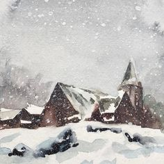 """Watercolor painting of a snowy day #watercolorpainting #watercolor on #strathmorepaper #instaart #instagood #instaartist #instadaily this watercolor landscape painting is 6x6""""."""