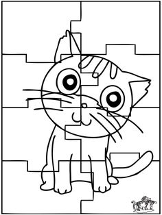 The Cute Cat Puzzle Coloring Pages - Games Coloring Pages : KidsDrawing – Free Coloring Pages Online Cat Coloring Page, Adult Coloring Pages, Free Coloring, Coloring Pages For Teenagers, Sudoku, Color Puzzle, Graffiti, Game Happy, Animal Puzzle